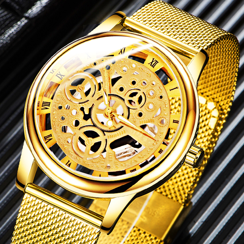 Mens Classic Hollow Watches Men Business Watch Male Stainless Steel Mesh Belt Skeleton Quartz Wrist Watch Relogio Masculino