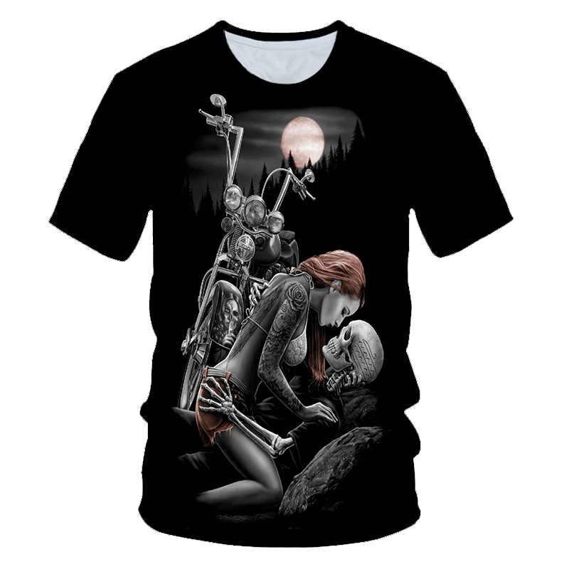 Cranio di Bellezza Rock Fresco 3D t shirt Mens Del Motociclo Punk 3D T Stampato Da Uomo Vestiti della maglietta di Estate Top Homme pantaloni a vita bassa Pop Camicia
