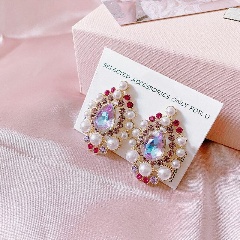 MENGJIQIAO Korean Elegant Pearl Waterdrop Purple Crystal Dangle Earrings For Women Girls Fashion Oval Party Jewelry Brinco