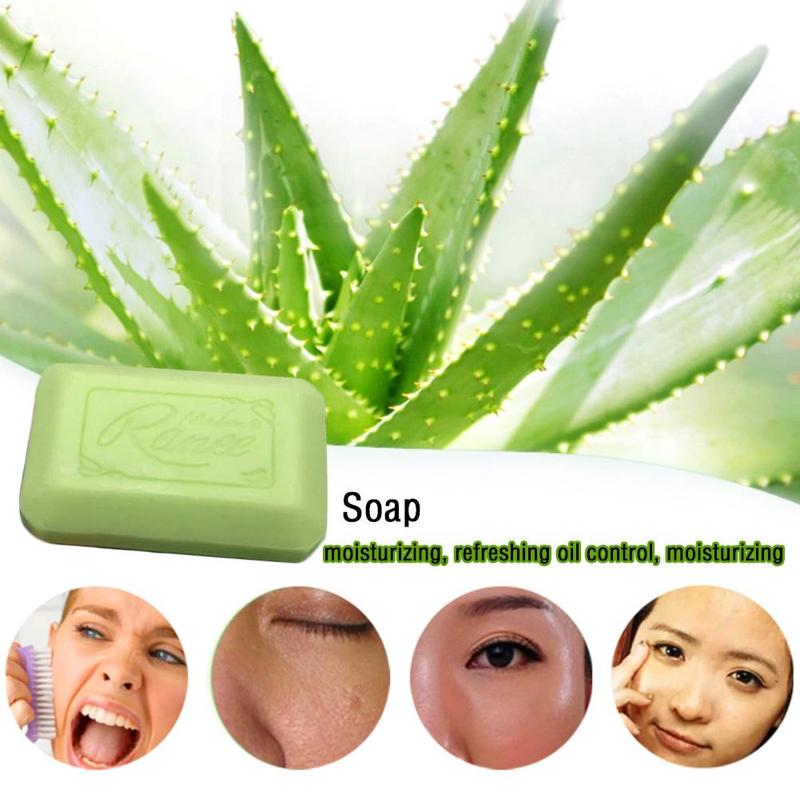 Natural Aloe Vera Essential Oil Soap Whitening Moisturizing Face Wash Deep Cleaner Bathing Soap Makeup Remover Body Skin Care