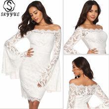 Skyyue кружевное коктейльное платье белое прямое 2020 с расклешенными