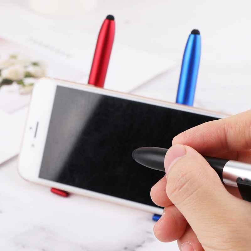มัลติฟังก์ชั่ 4 In 1 ปากกาลูกลื่นพับไฟ LED โทรศัพท์มือถือ Stand Holder โรงเรียนเขียนเครื่องเขียน