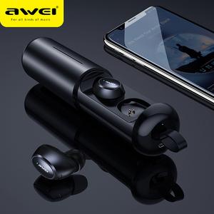 Image 1 - AWEI T5 TWS 5.0 블루투스 이어폰 헤드폰 스테레오 진정한 무선 이어 버드 핸즈프리 게임용 헤드셋, iPhone 용 마이크 포함