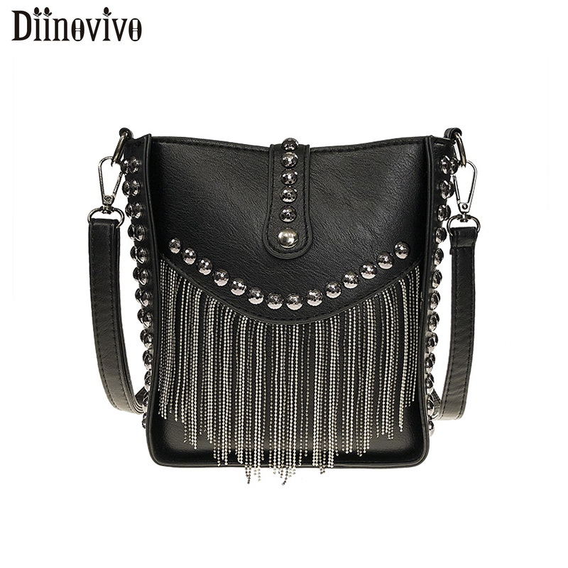 DIINOVIVOWomen Tassel Shoulder Bag Punk Rivet Ladies Messenger Bag Small Bucket Bag Female Crossbody Bags For Women Bag WHDV1213