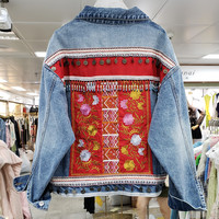 2019 Autumn Winter Loose Ethnic Style Embroidery Nail Pearl Cowboy Top Womens Long Sleeve Jeans Coat Girls Vintage Jean Jackets