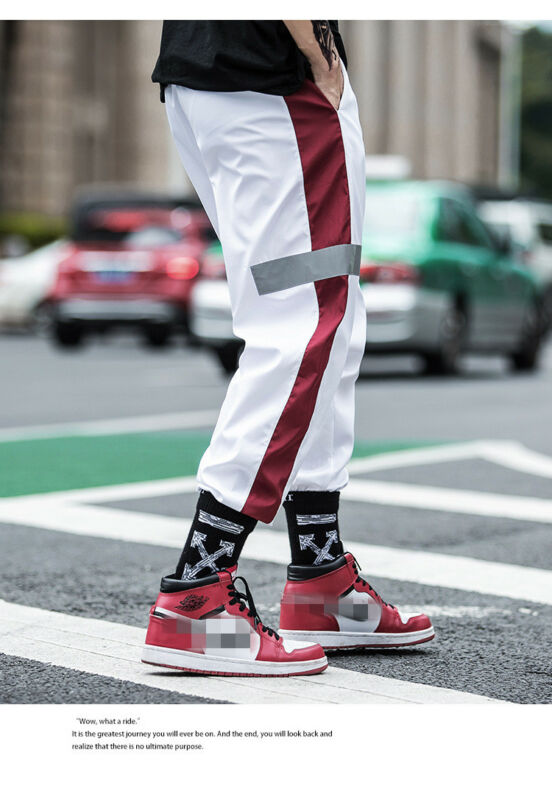 Men Lose Gym Sporthose Hip Hop Reflex Stripe Pants Jogging Jogginghose Fashion Loose High Waist Long Trouser Hot Sale