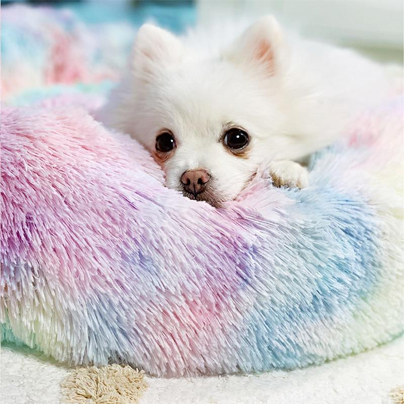 Winter New Rainbow Dog Bed For Small Medium Large Dog Cat Soft Plush Lounger Round Kitten