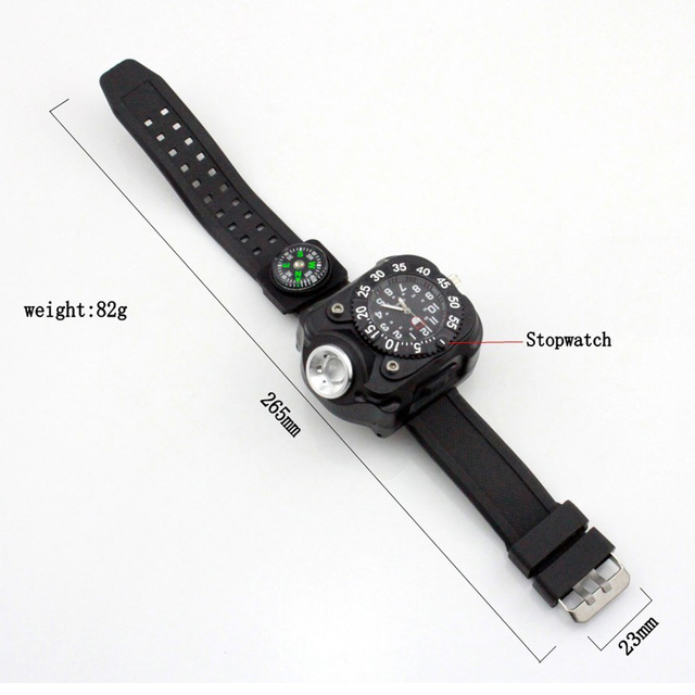 3 in 1 Bright Watch Light Flashlight Torch Outdoor Sports Mens Fashion Waterproof LED Rechargeable Wrist Watch lamp