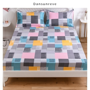 14 Designs Bed Sheets Geometric Printed Fitted Sheet With Elastic cotton blend Polyester Mattress Cover Single Queen King Size