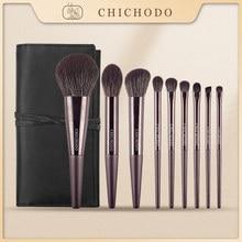 Chichodo Makeup Brush-Violet 9Pcs Cosmestic Borstels Serie-Hoge Kwaliteit Fiber Schoonheid Pennen-Synthetisch Haar Gezicht & Eye Cosmetische Tool
