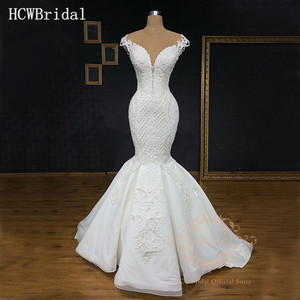 Image 1 - Robe de mariée de luxe, sirène, sans manches, longueur de plancher transparente, arabe, sur mesure, style dubaï, 2019