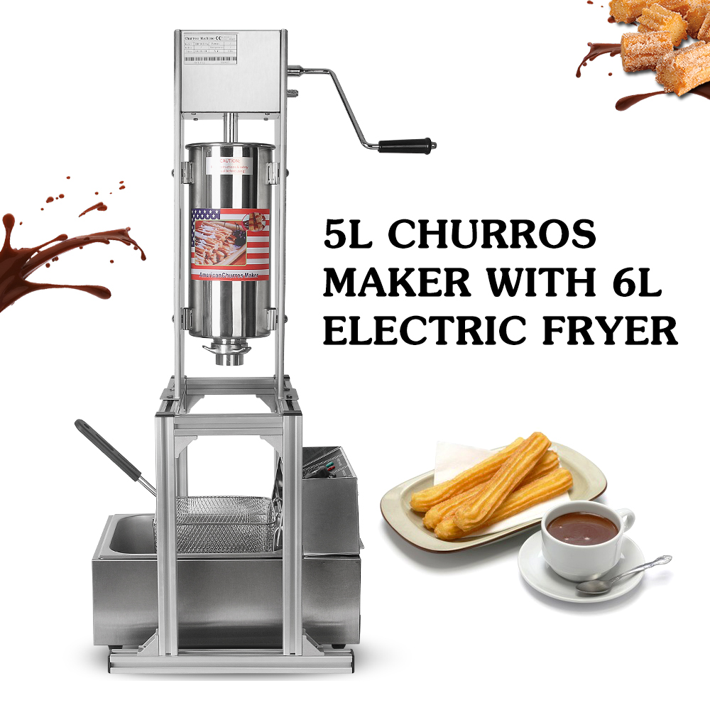 Heavy Duty Manual Vertical 5L Spanish Churrera Churros Machine Maker w// 6L Fryer