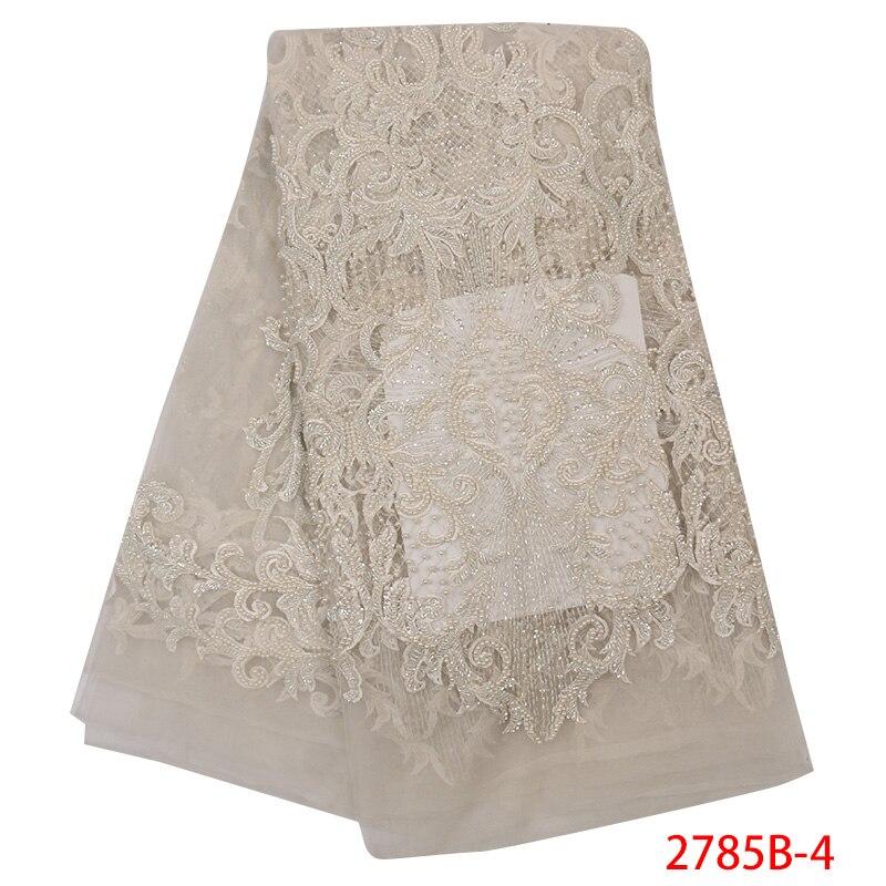 Tela de encaje hecha a mano roja de alta calidad de tela de encaje de tul con cuentas bordadas de encaje francés africano para boda APW2785B-in encaje from Hogar y Mascotas    2