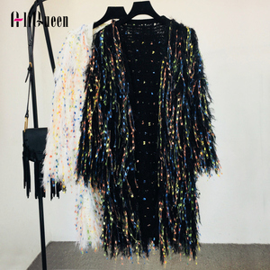 2019 Autumn Women Colorful Sequins Tassels Knitted Long Sweater Cardigan Jacket Winter Handmade soft Velvet Fluffy Coat Outwear