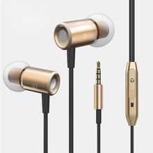 3.5mm In Ear Stereo Headset Super Bass Music Earphone Earbuds Metal Stereo With Mic Magnetic Adsorption Easy To Wear For Iphone(China)