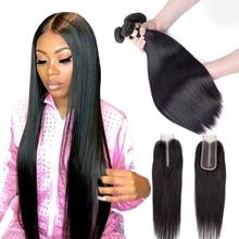 Mechones de pelo peruano con cierre, extensiones de cabello humano mechones de pelo Remy msweel, liso, Kim K, 2x4