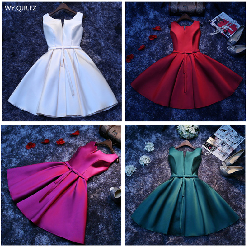 HJZY-69L#Short Evening Dresses White Red Lace Up Champagne Green Wedding Cocktail Party Prom Dress Wholesale Girls Graduation