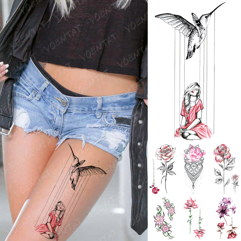 Waterproof Temporary Tattoo Sticker Girl Bird Moon Flowers Flash Tattoos Flowers Rose Lotus Body Art Arm Fake Sleeve Tatoo Women