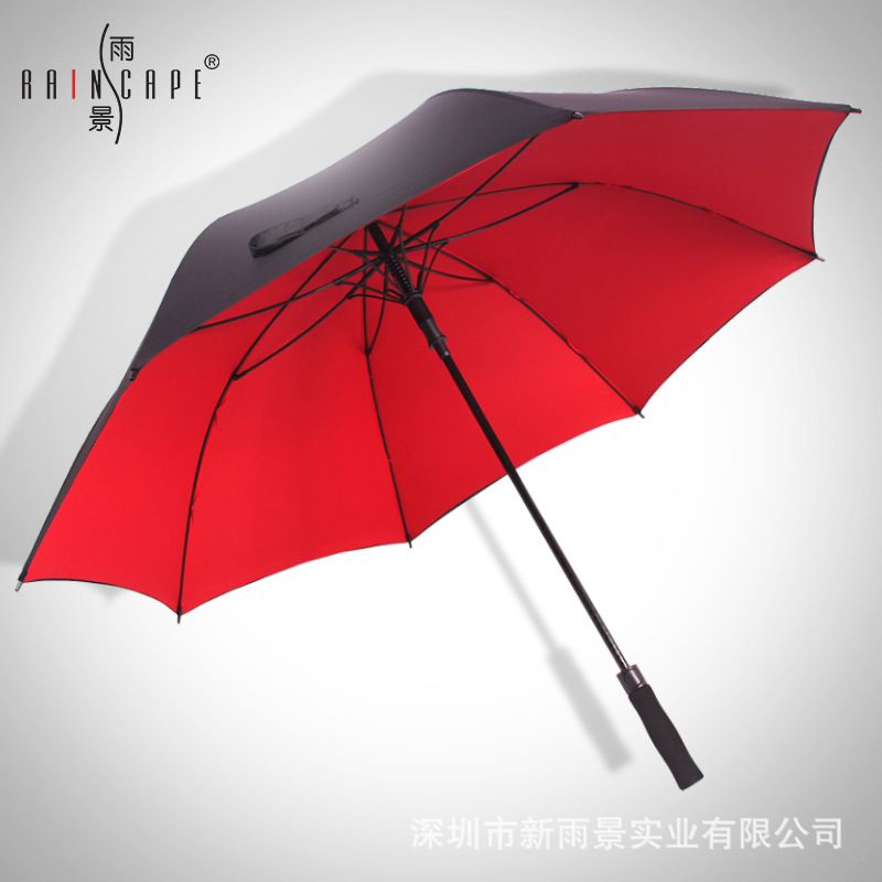 25-Inch Men Double Layer Long Handle Umbrella Three Ultra Large Kang Feng San Welcome Umbrella Outdoor Golf Umbrella Double Umbr