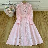 Ziwwshaoyu 2020 Designer Brand Linen Midi Dresses Women's Fine Flowers Embroidery Stand Collar Boho Party Dress + Belt