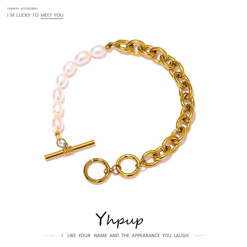 Yhpup Elegant Natural Pearl Toggle-Clasps Chain Bracelet High Quality Stainless Steel 18 K Metal Bracelet бижутерия для женщин
