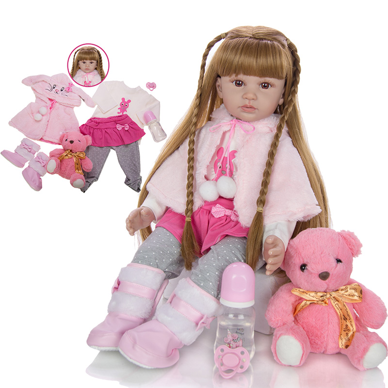 Fashion Reborn Baby Doll 60 CM Cartoon Baby Reborn Boneca Dolls Silicone Vinyl Wear Cloak Doll With Long Hair Realistic Toys