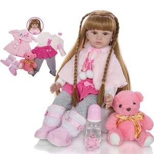 Fashion Reborn Baby Doll 60 CM Cartoon Baby Reborn Boneca Dolls Silicone Vinyl wear Cloak Doll With Long hair Realistic Toys(China)