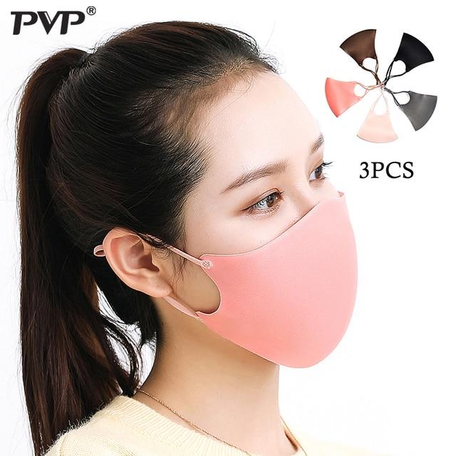 PVP 3Pcs Black Bilayer Sponge Mouth Mask Anti Haze Dust Washable Reusable Double Layer Dustproof Mouth-muffle Wind Proof  Mask 5