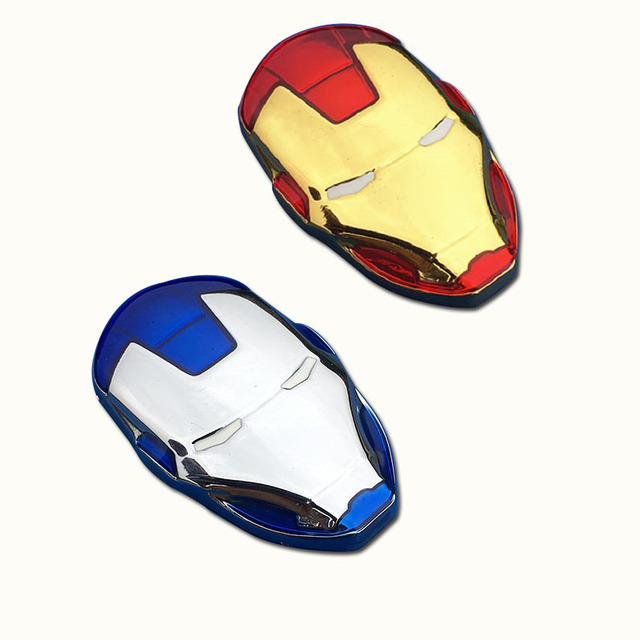 6x3.8cm New 3D Chrome Metal Iron Man Car Emblem Stickers Decoration The Avengers Car Styling Decals Exterior Accessories