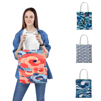 Canvas bag Shopper-bags Cloth Beach-totes Large Casual Canvas Simple New-brand Tote-bag Large-capacity Print Foldable rope canvas print beach bag