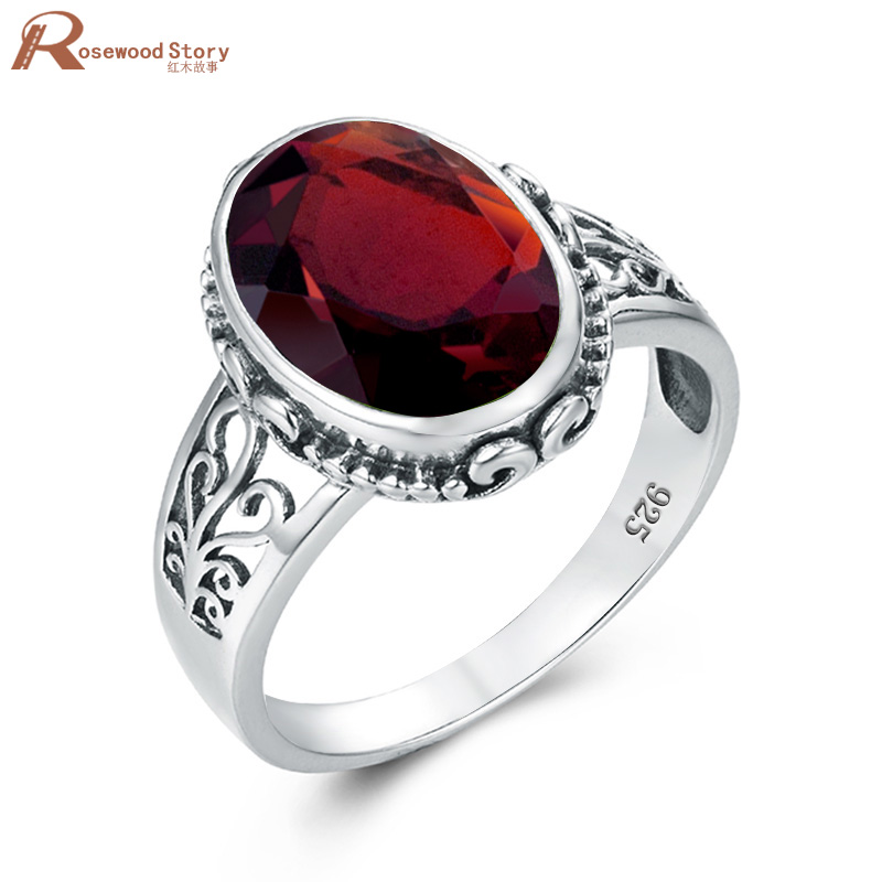 Red Garnet Men Ring Silver 925 Ring For Women Gold Oval Gemstone Classic Fine Jewellery Prong Setting Engrave Anillo Hombre Best