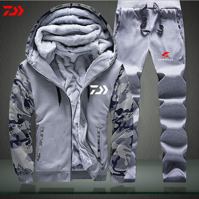 Daiwa Thermal Fishing Suit  Men Autumn Winter Color Matching Fishing Jacket Long Sleeve Hiking Clothes Polyester Fish Pants