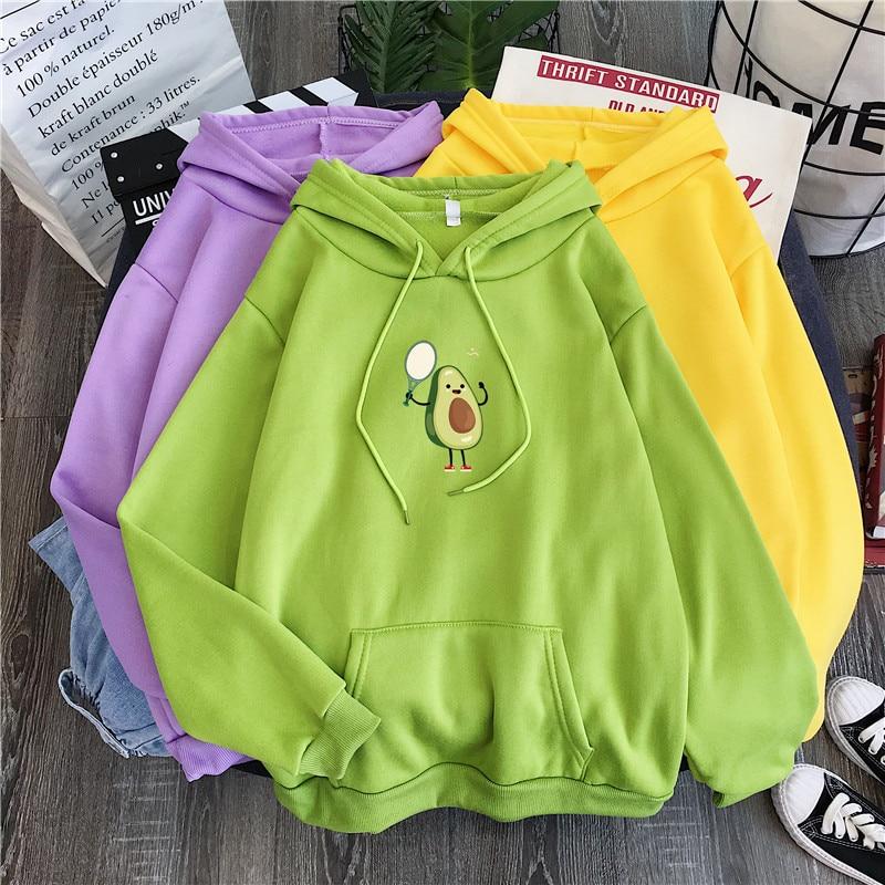 Cute Cartoon Avocado Sweatshirt Hoodie Kawaii Print Top Fashion Girl Print Hoodie Personality Ladies Sweatshirt Hip Hop Apparel