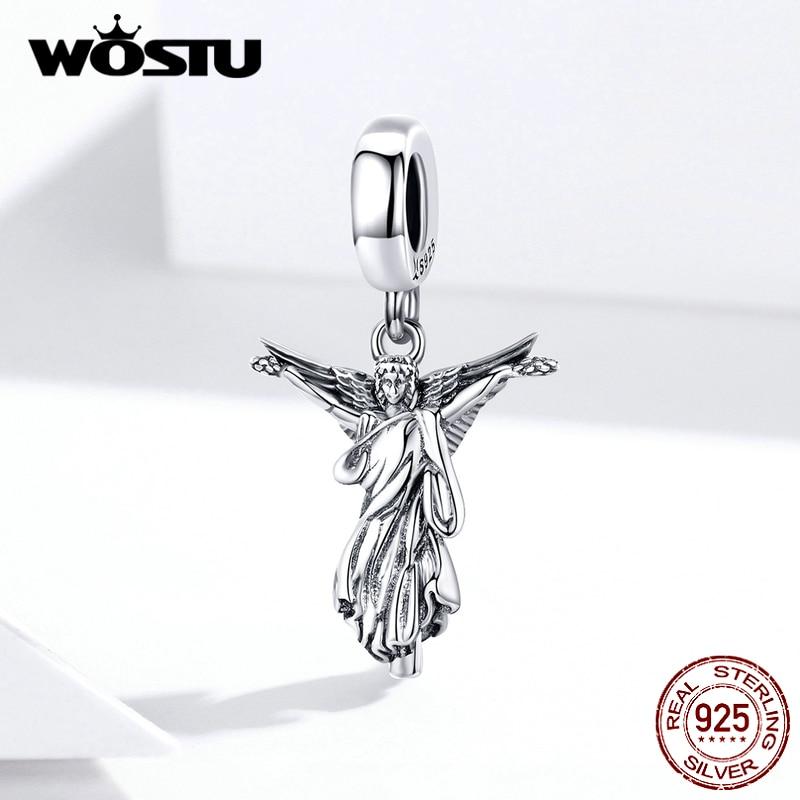 WOSTU 925 argent Sterling sainte vierge perles Vintage Religion breloques ajustement Original Bracelet collier pendentif à assembler soi-même bijoux FIC1404