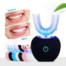 360 elétrica sônica escova de dentes kit com led blu-ray dentes branqueamento ipx7 à prova dwaterproof água portátil escova de dentes mãos livres