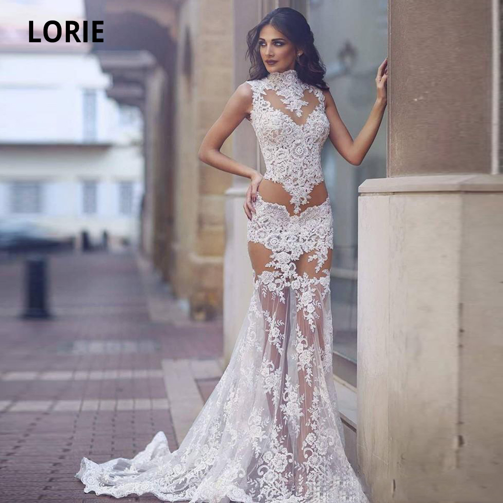 LORIE 2020 New Mermaid Wedding Dresses Lace Appliques Sexy See Through Illusion Sleeveless Bridal Gowns Court Train Plus Size