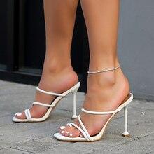 2020 European Summer Sandals White Toe Square Toe Concise Ladies Shoes