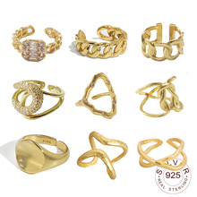 Authentic 925 Sterling Silver Simple Minimalist Open Adjustable Finger Rings for Women round gold color Band Female Bijoux