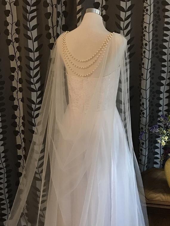 Soft Bridal Cape W/Pearls Back Jewelry Bridal Shoulder Cape Wedding Wrap Bolero Jacket  Capes  Beaded Shawl  Hooded Cape