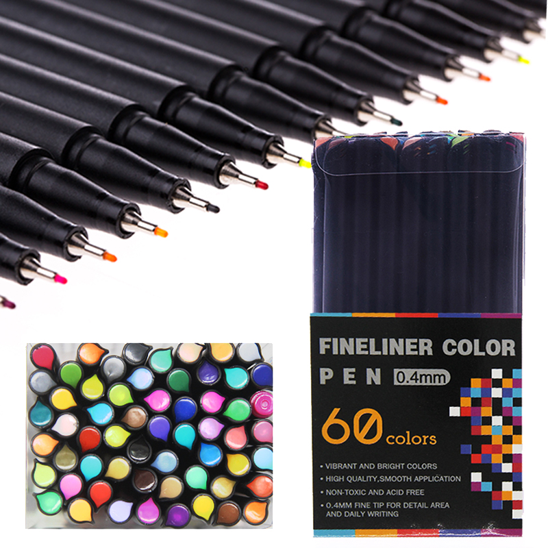 12/24/36/48/60 Color Fineliner Pen Felt Tip School Office Supplies Set Drawing Sketch Art Marker
