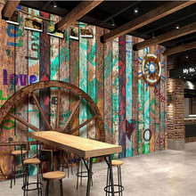 Wellyu Kustom Skala Besar Mural 3D Wallpaper Bar KTV Retro Old Wood Graffiti Tema Latar Belakang Lukisan Dinding Papel De cash(China)