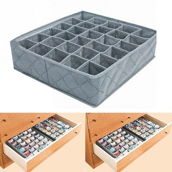 30 Grids Underwear Socks Storage Drawer Closet Bamboo Charcoal Organizer Box JS22