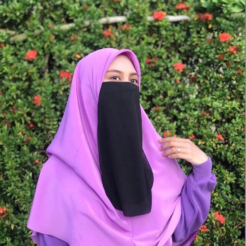 Niqab Muslim Hijab Cover Scarf Ramadon Veil Burqa Prayer Shawl Islam Headband Arab Wrap Turban Traditional Headwear Woman Veil