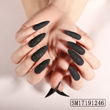 Gothic perforated silver ring style wearable fake nail granulated sugar powder flash removable patch