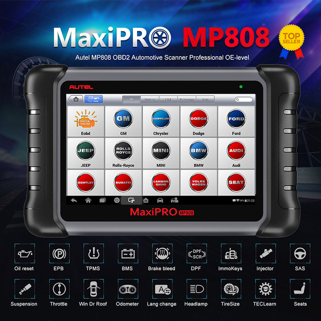 Autel Maxipro MP808 Diagnostic Tool Obdii Obd 2 Auto Auto Diagnose Scanner Tool Tpms Programmering Sleutel Programmeur Maxisys MS906