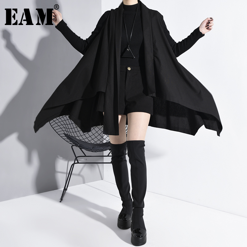 [EAM] Women Loose Fit Black Asymmetrical Hemline Big Size Vest New V-collar Sleeveless Fashion Tide Spring Autumn 2020 A626