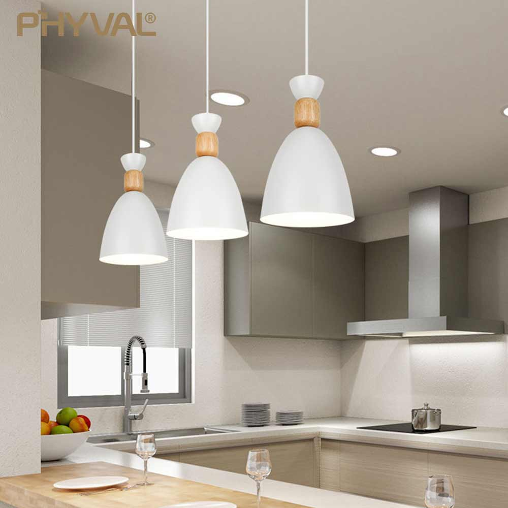 Nordic Pendant Lamp Solid Wood Postmodern Hanging Lights Gourd Pendant Lights Simple Restaurant Lamp Wrought Iron Macaron Lights