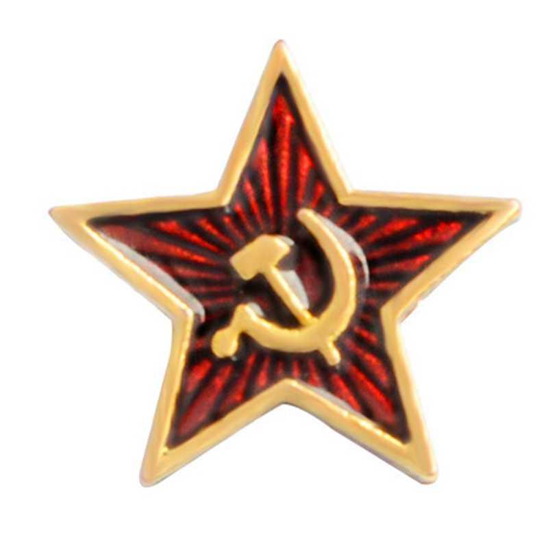 Retro Uni Soviet Simbol Enamel Pin Bintang Merah Sabit Hammer Perang Dingin Soviet Komunisme Pro Kitty Bros Lencana Kerah Pin Mantel Perhiasan hadiah