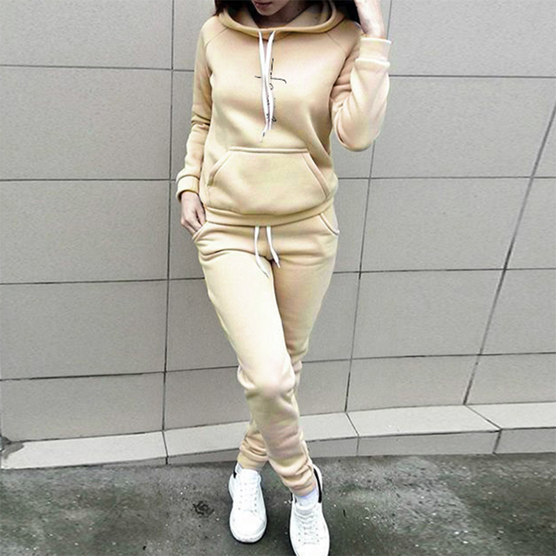 Tracksuit Women Two Piece Set Chandal Mujer Long Sleeve Hooded Sweatshirt Pants Ensemble Femme Suits Plus Size S-4XL