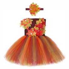 Girls Maple Leaf Princess Fall Dress Halloween Carnival Party Dresses Kids Role Play Moana Clothes Child Thanksgiving Tutu Dress